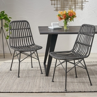 Link to Assisi Wicker Dining Chairs (Set of 2) by Christopher Knight Home Similar Items in Dining Room & Bar Furniture