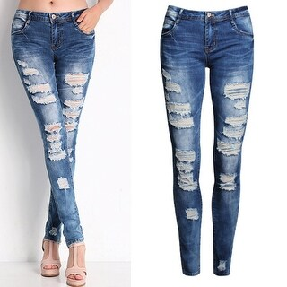 Ladies Sexy Ripped Jeans Casual Elastic Denim Slim Pencil Long Pants Gift