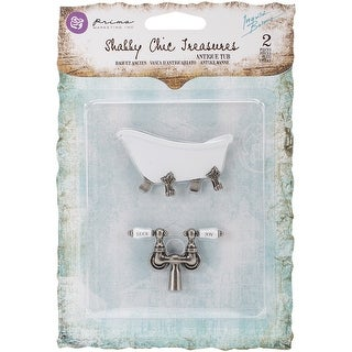 Prima Shabby Chic Treasures Metal Embellishments-Antique Cla - antique clawfoot tub w/faucet 2/pkg