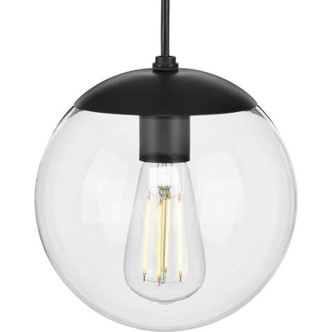 Atwell Collection 1-Light Clear Glass Matte Black Small Pendant - 8 in x 8 in x 8.75 in
