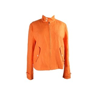 Lauren Ralph Lauren Orange Zip-Up Twill Jacket - 16
