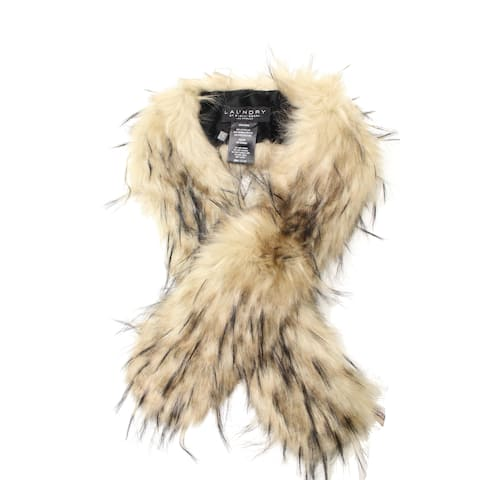 Laundry by Shelli Segal Womens Scarf Beige One Size Convertible Faux Fur