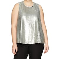 Rachel Rachel Roy Silver Womens Size 1X Plus Sequined Tank Top