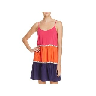 Tory Burch Womens Colorblock Crochet Inset Dress Swim Cover-Up