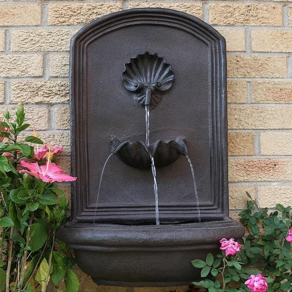 Sunnydaze Seaside Outdoor Solar Wall Water Fountain With Iron Finish 27 Inch Bronze