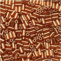 Toho Bugle Tube Beads Size 1 / 2x3mm Gold Lustered African Sunset 8 Grams