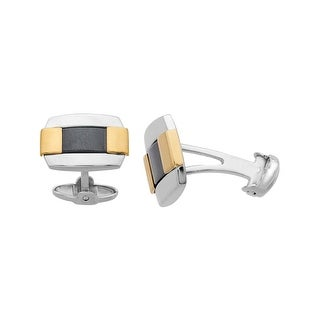 Dolan Bullock Men's Hematite Cufflinks in Sterling Silver & 14K Gold - Black