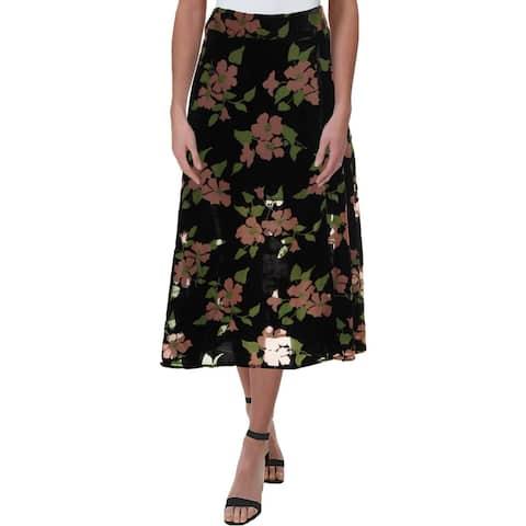 Juicy Couture Black Label Womens Midi Skirt Velvet Burnout