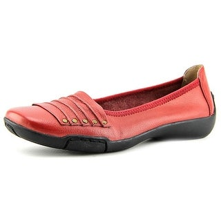 Array Willow Women Square Toe Leather Red Flats