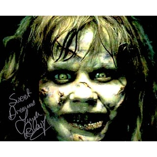 Linda Blair Signed The Exorcist Regan Scary Face Close Up 8x10 Photo wSweet Dreams
