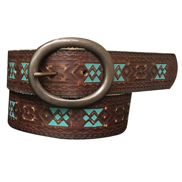 Roper Western Belt Womens Embossed Hand Painted Brown