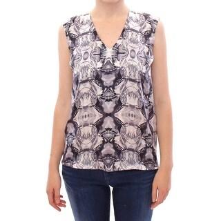 Arzu Kaprol Gray Blue Silk Sleeveless Top Shirt Blouse