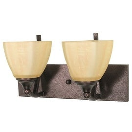 "Nuvo Lighting 60/060 Normandy 2 Light 14.5"" Wide Vanity Light with Champagne Washed Linen Glass Shades - copper bronze"