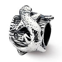Sterling Silver Reflections Lizard on a Log Bead (4mm Diameter Hole)