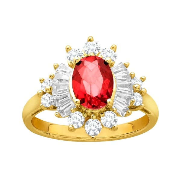 1 1/2 ct Created Ruby and Created White Sapphire Ring in 14K Gold-Plated Sterling Silver - Red