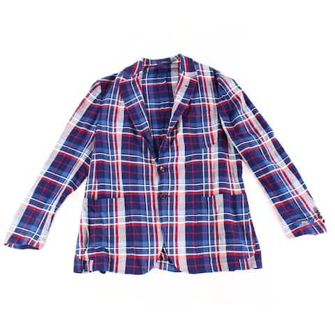 Polo Ralph Lauren Mens Blue Size 44R Plaid Print Two-Button Jacket