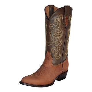 Ferrini Western Boots Mens Leather Round Toe Pull Straps Cafe 12211-03