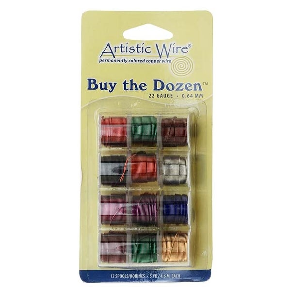 Artistic Wire, 12 Pack Craft Wire Assortment - Multi-Color Tarnish Resistant 22 Gauge (12 Pack)