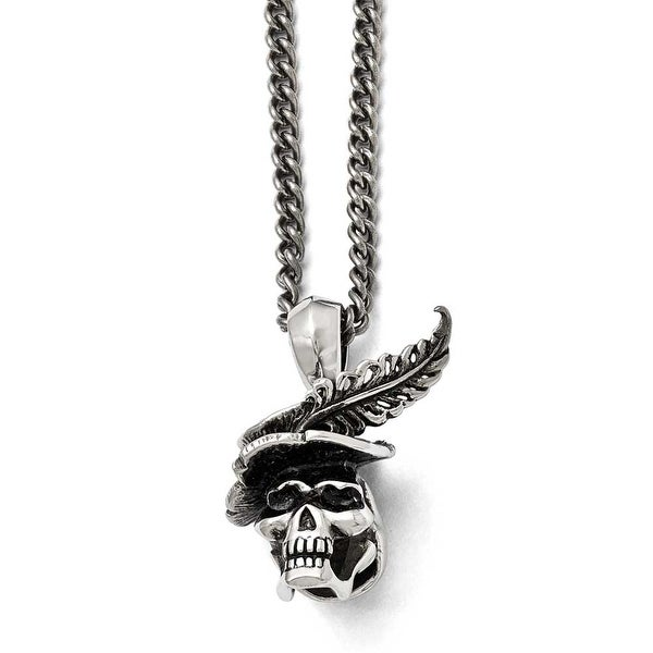 Chisel Stainless Steel Polished and Antiqued Skull with Feather Necklace - 22 in