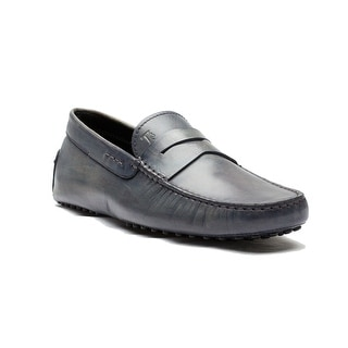 Tod's Men's Leather Mocassino Gomino Nuovo Loafer Shoes Grey