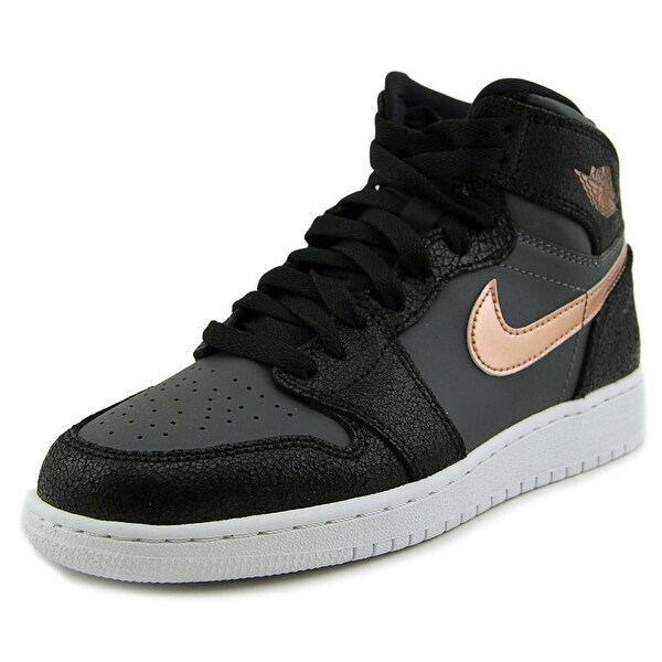 Jordan Air Jordan 1 Retro High Youth Round Toe Leather Black Basketball Shoe