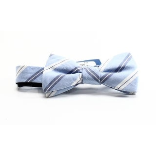 VINCE CAMUTO NEW Blue Striped Men's Linen Blend Pre-Tied Bow Tie