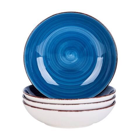 8'' Deep Blue Ceramic Dinnerware Set Soup Plates Service for 4