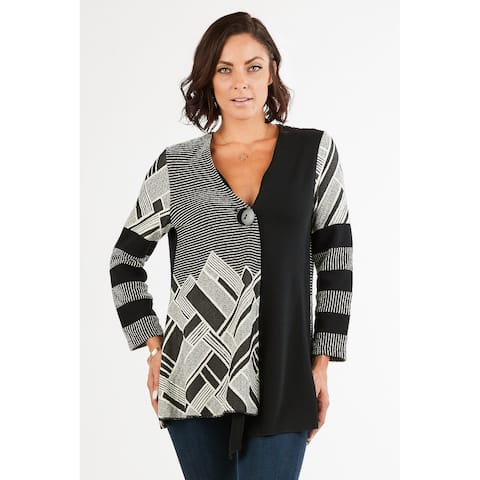 Women's Black/White Geometric Print One-Button Down Cardigan Jacket