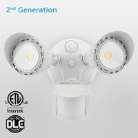 Newly Improved Dual-Head Outdoor Security Light, Motion & Photo Sensor, 3 Modes,3000K/5000K, White