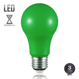 Green LED A19 Colored Light Bulb, E26 Medium Base, 7W (50W Equiv.), Non-Dimmable