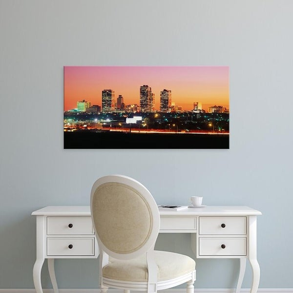 Easy Art Prints Panoramic Images's 'Buildings lit up at dusk, Fort Worth, Texas, USA' Premium Canvas Art