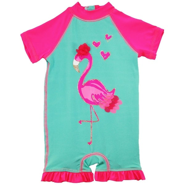 447799d3d Wippette Baby Girls Flamingo Swimsuit 1-Piece Rashguard Bathing Suit - 9  months