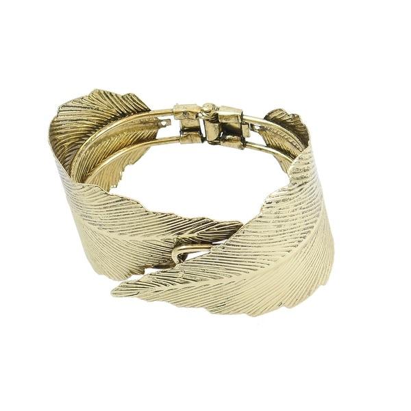 Hinged Bangle Bracelet Edged Leaf Shape Design, Gold