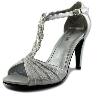 Kelly & Katie Christa Women Open-Toe Canvas Silver Heels