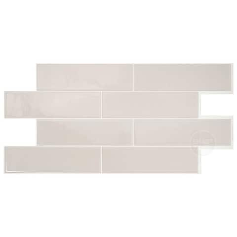 "Smart Tiles Self Adhesive Wall Tiles - Oslo Taupe - 2 Sheets of 22.56"" x 11.58"" Kitchen and Bathroom Stick on Tiles"