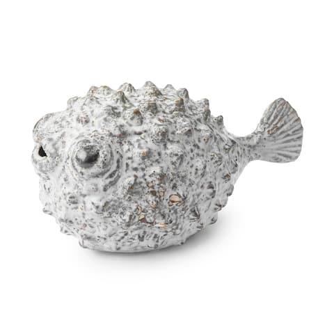 """Mercana Spike II (10.2""""L) ceramic puffer fish in white, blue and gold - 10.2L x 5.5W x 5.5H"""
