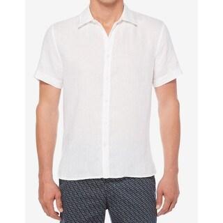 Perry Ellis NEW White Men's Size Large L Button Down Short Sleeve