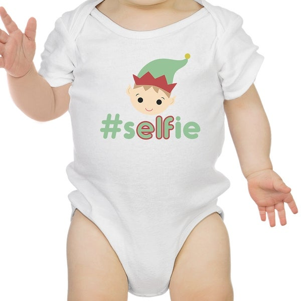 Hashtag Selfie Elf Funny Graphic White Baby Bodysuit Baby Girl Gifts