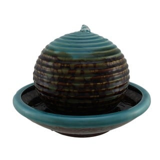 Burnt Stained Blue Porcelain Floating Ball in Bowl Tabletop Fountain - 8.5 X 12 X 12 inches