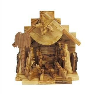 "7.9"" Handmade Wooden Nativity Music Box Christmas Decorative Figurine"
