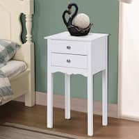 Gymax Side Table End Accent Table Night Stand W/ 2 Drawers Furniture White