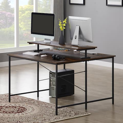 Nestfair Brown Two Person Home Office Desk with Monitor Shelf