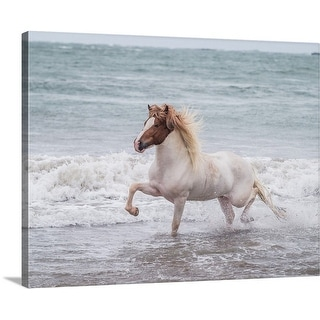 Premium Thick-Wrap Canvas entitled Horse running on coastline, Iceland
