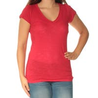 INC Womens Red Short Sleeve V Neck Top  Size: S