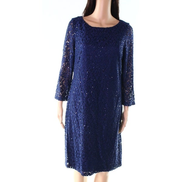 d24ccb6be9b0 Shop Jessica Howard Navy Blue Womens Size 14 Sequin Lace Sheath ...