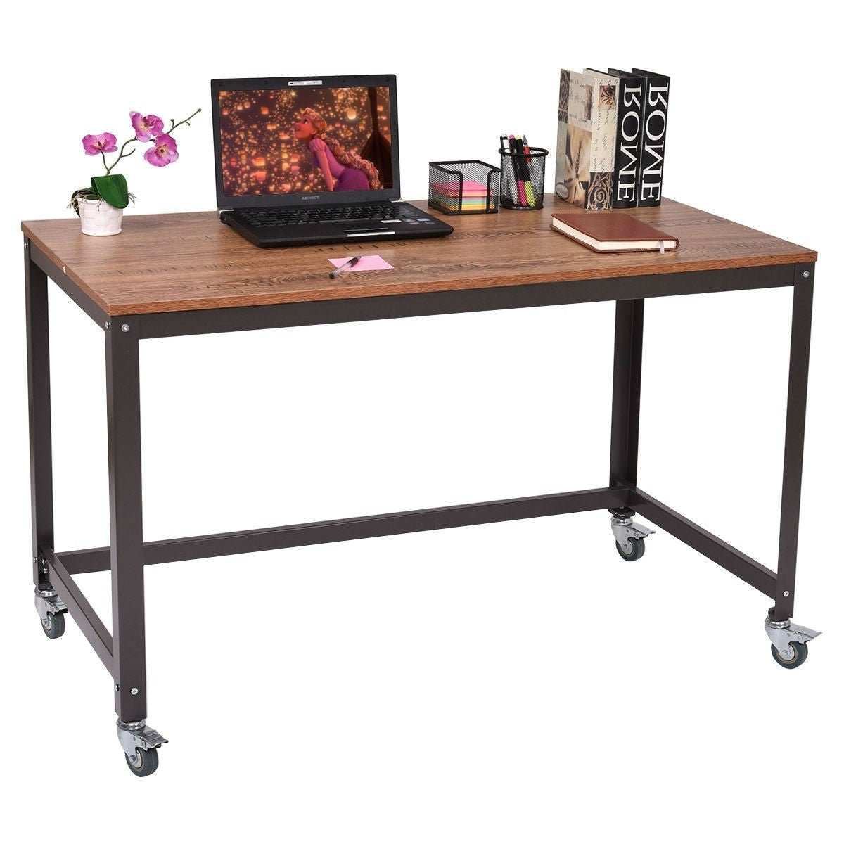 Industrial Modern Steel Frame Wood Top Computer Desk With Locking Wheels Overstock 29083909