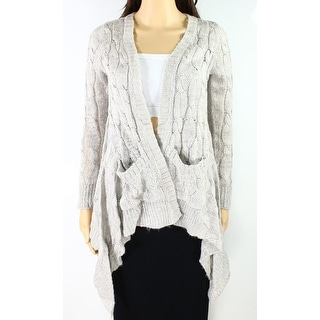 CLNY NEW Gray Women's Large L Asymmetrical Cable Knit Cardigan Sweater