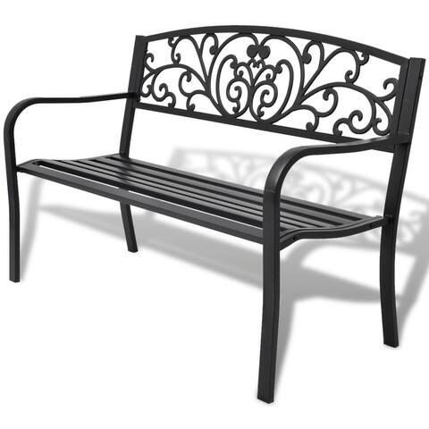 "50"" Outdoor Patio Park Garden Bench Porch Chair Steel Frame Cast Iron Backrest - 50"" x 24"" x 33"""
