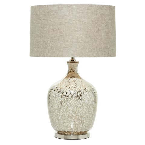 "Beige Mercury Glass Table Lamp with Beige Drum Shade 16"" x 26.5"" - 16 x 16 x 27"