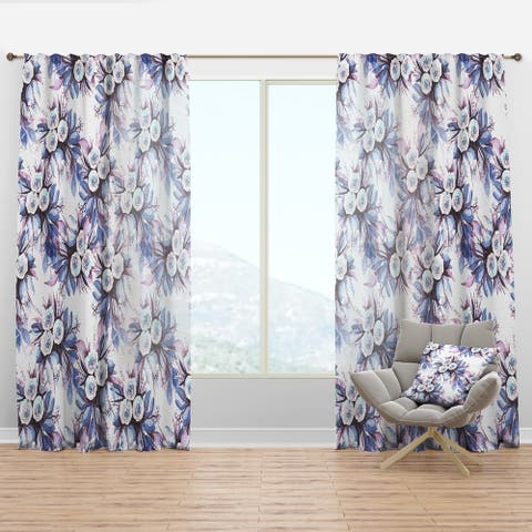 Designart 'Flowery Purple in White' Floral Curtain Panel